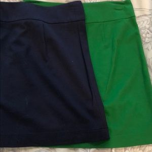 Navy and green cotton skirts